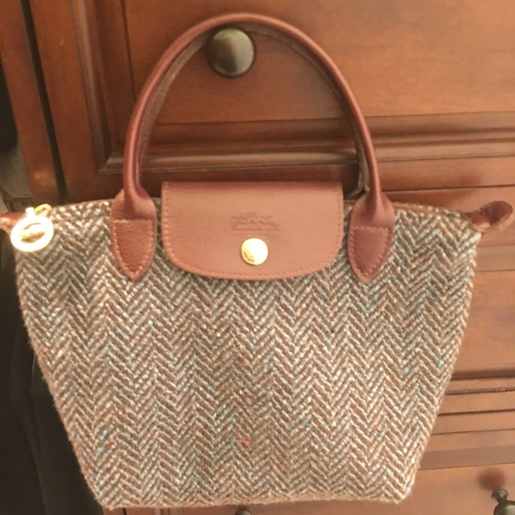 Leather And Longchamp Bag Tweed In qpIqFTwY